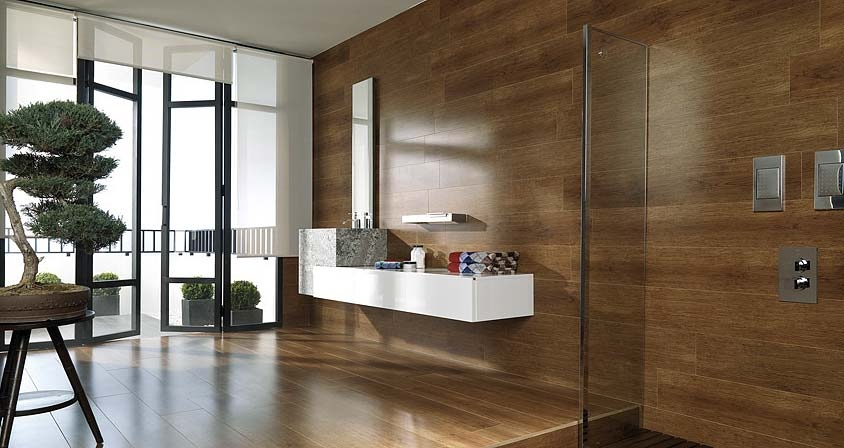 Wooden Bathroom Floating Sink And Counter Interior