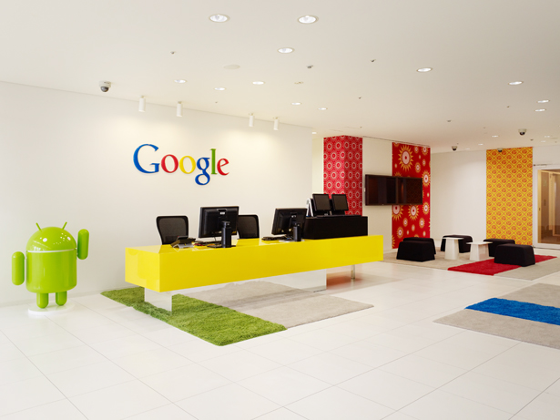 1 google office reception primary colors interior design ideas