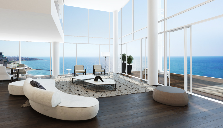 open floor plans mean these views translate easily from dining area to kitchen to airy and bright bathroom the larger apartments also feature a lofted area - Inside Luxury Apartments