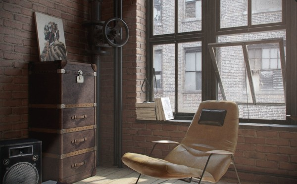 "Considering this loft more of a ""transitional"" home, the designers opted not to build out a separate closet area. Instead, a vintage trunk and repurposed lockers offer a stylish solution to the very practical concern of where to put one's clothes."