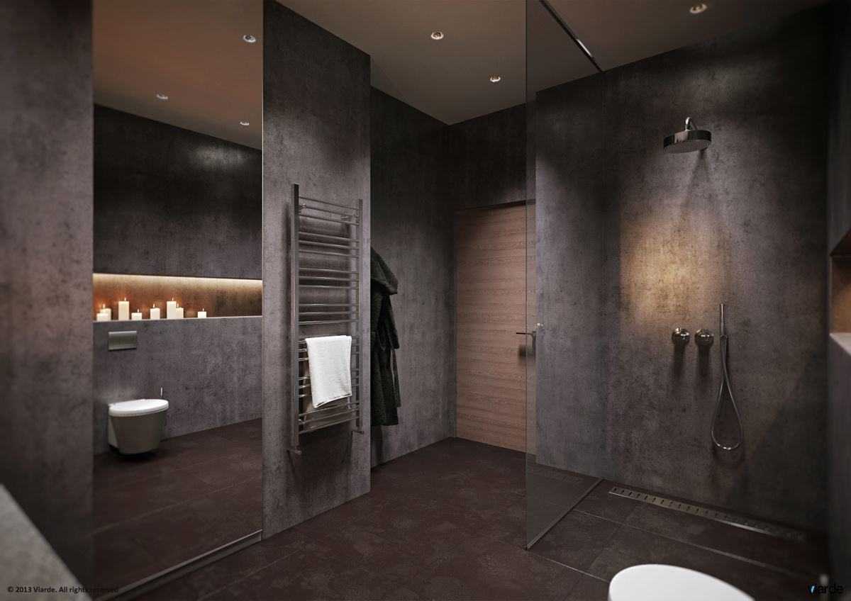 14 dark stylish bathroom interior design ideas for Dark grey bathroom accessories