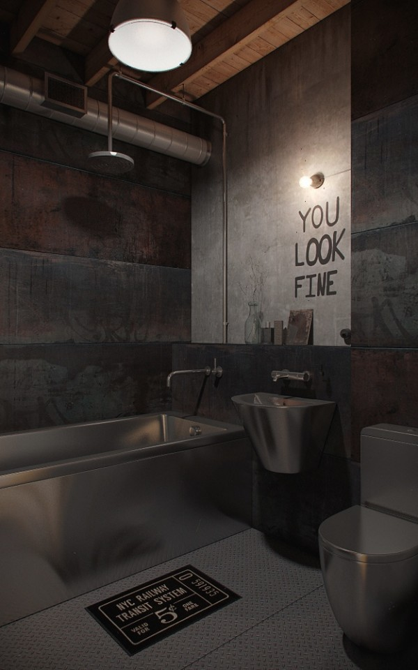15 industrial loft bathroom