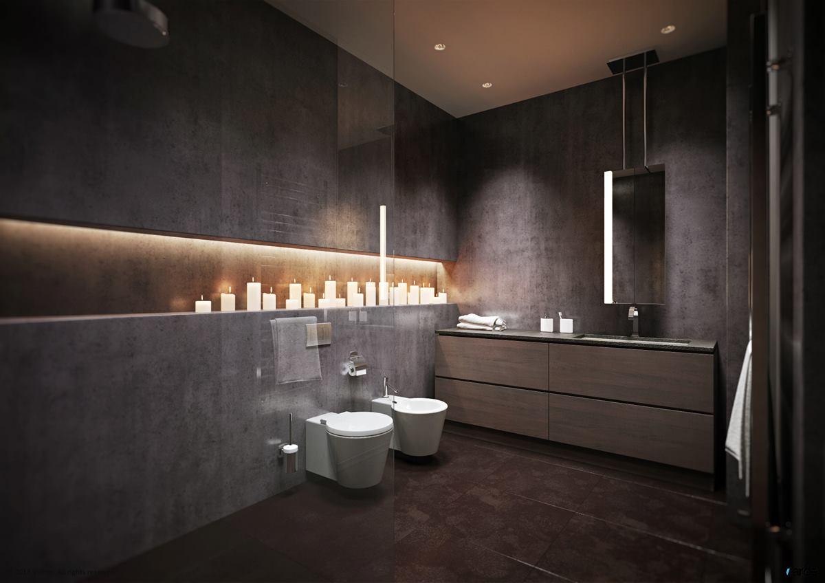 15 modern grey bathroom interior design ideas for Grey interior designs