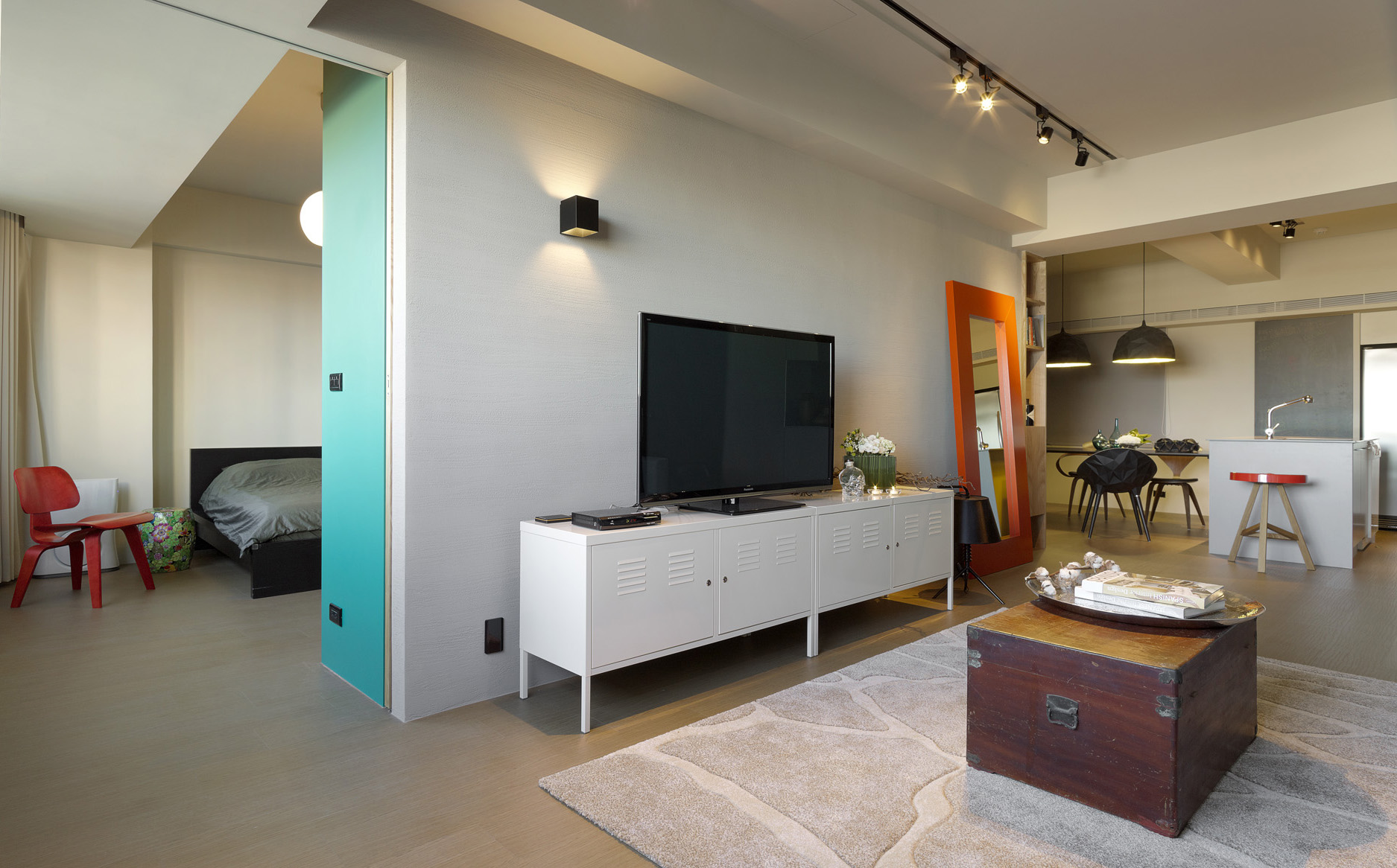 A modern taiwanese apartment with a funky twist - Small tv for kitchen wall ...