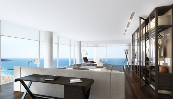 Floor-to-ceiling windows offer spectacular views of the Mediterranean on one side and the city itself on the other. Open floor plans mean these views translate easily from dining area to kitchen to airy and bright bathroom. The larger apartments also feature a lofted area that overlooks the living area below.