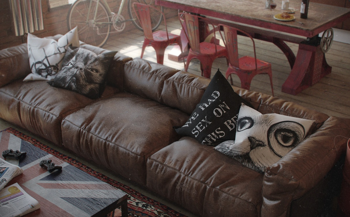 Decorative Pillows For A Leather Couch : Eclectic Bachelor Retreat