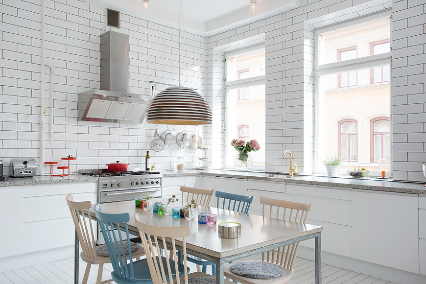 3 white tiled kitchen