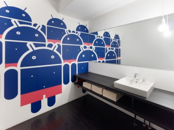 Design cannot stop where functionality is required. Here, the designers have brought the playful Android figure into the washrooms, dressed in gender-appropriate swimwear, to cheerful effect.