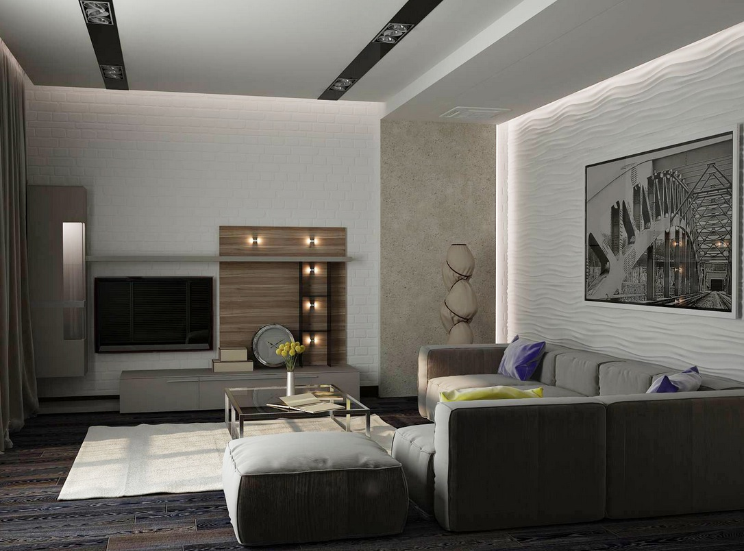 Amazing designer living rooms for Eclairage mural