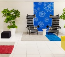 8 comfortable meeting chairs primary colors