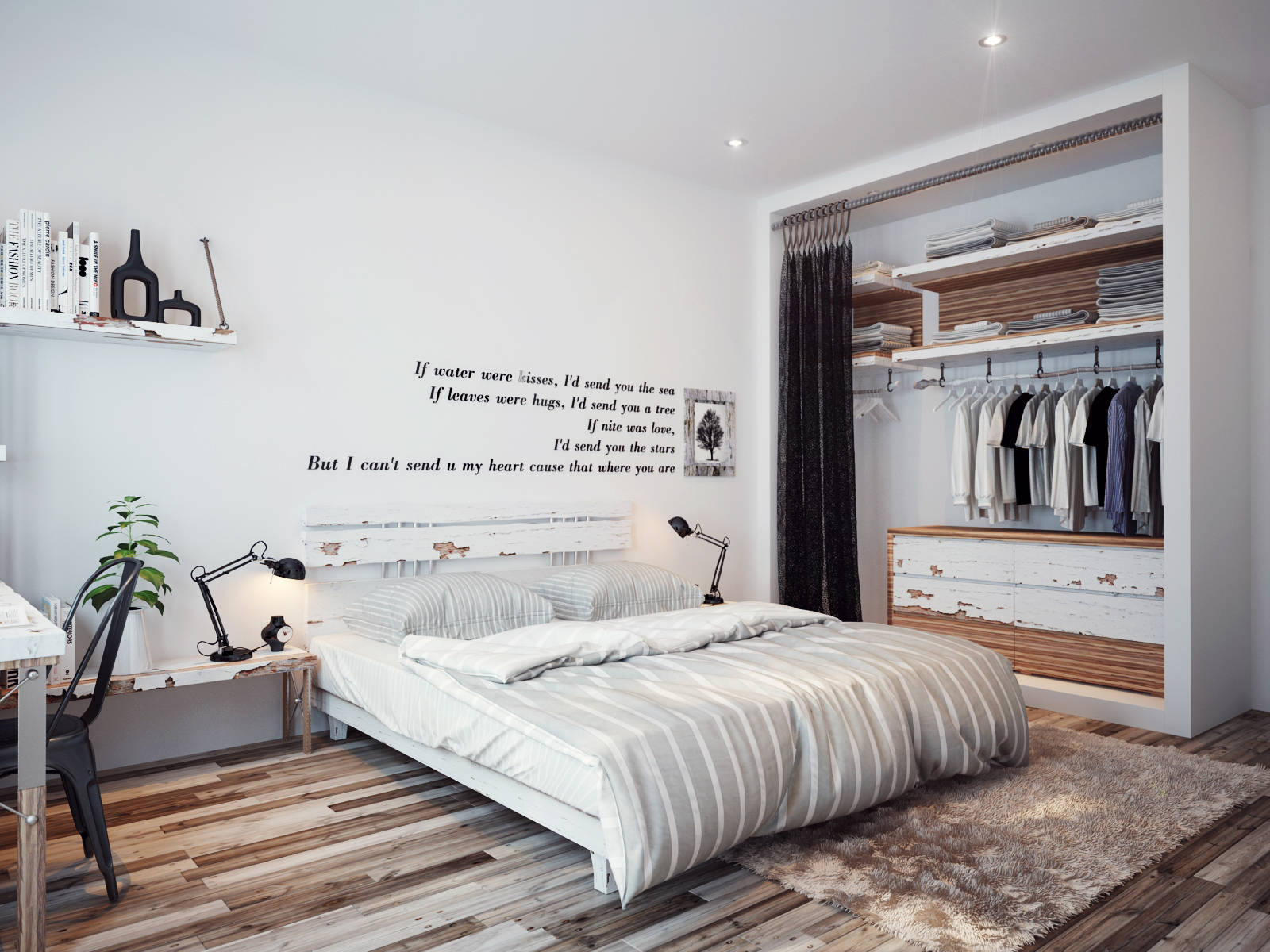 Walls decorated sparsely with poetic quotes make this modern bedroom