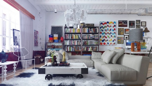 Colorful and Funky Interiors [Visualized]