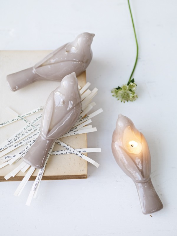Rounding out the list are these self-sacrificing bird candles. Light the wick on its back for soft, beautiful light without losing the bird shape.