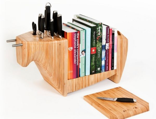Keep cookbooks organized while also protecting your knives and having a cutting board handy. This bull shelf is a multipurpose accessory that would be at home in any kitchen, if not in a china shop.