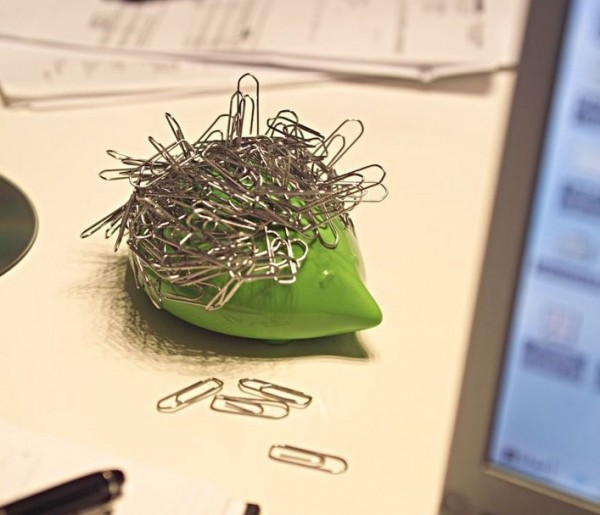 Instead of letting paperclips scatter across your desk, use them to give this poor porcupine some spines of his own. Magnets keep the clips ready for use, but all in one place while his little face keeps you smiling.
