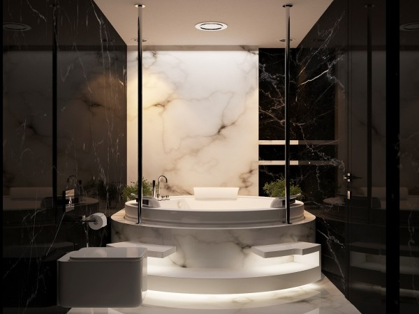The decadent bathroom is a crowning achievement in this futuristic home. With marble walls, floors, and fixtures it gleams and echoes with a 21st century style.