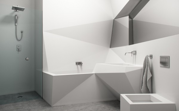 angled bathroom