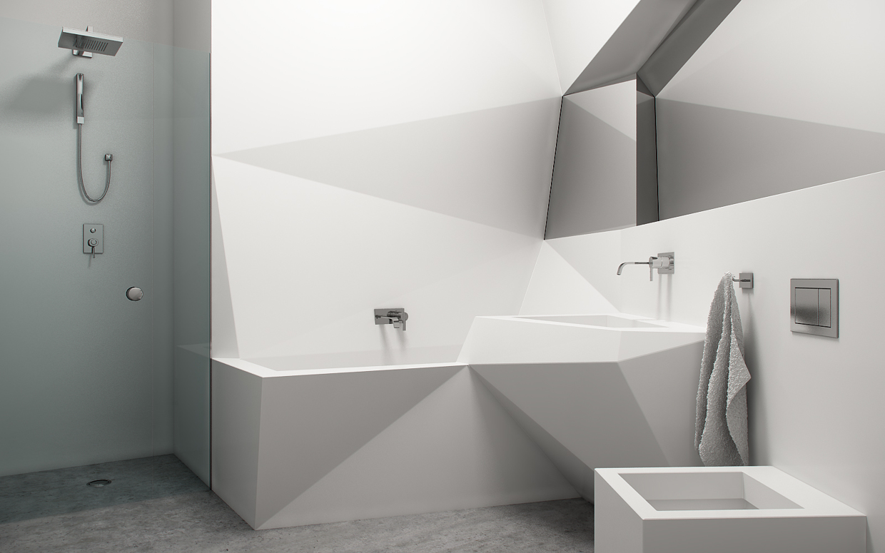 Futuristic interior design - Bathtub small space concept ...
