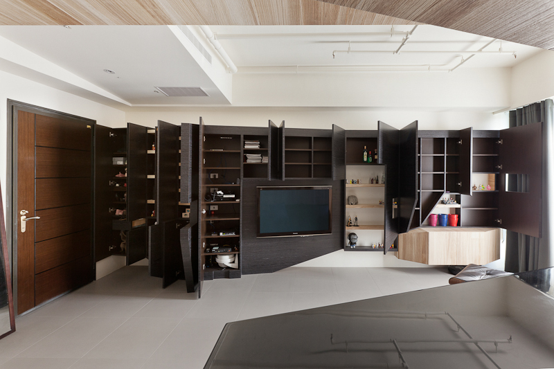 Black modern storage unit interior design ideas for Modern living room shelving units