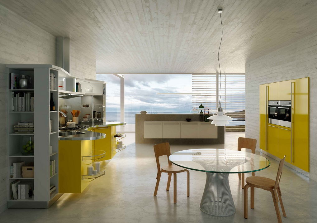Modern italian kitchens from snaidero for Modern yellow kitchen cabinets