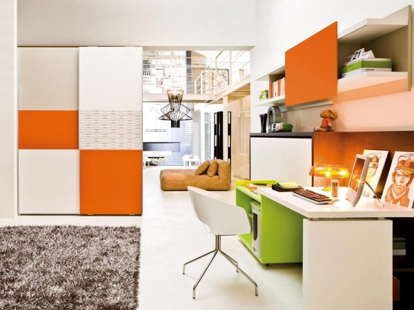This creative office area is colorful and bright, perfect for sparking the next great idea.