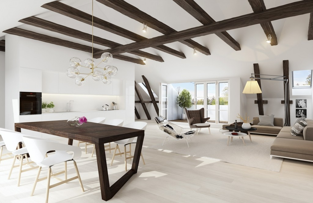 Exposed ceiling beams interior design ideas for Exposed beam vaulted ceiling