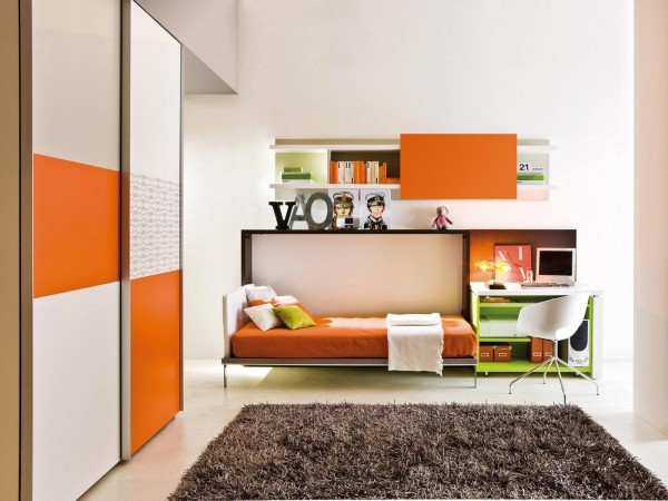 Even better, roll those shelves under the desk and it creates space for the hidden bed inside the wall unit. This cute modern office is now a cute modern guest room!