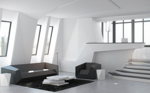 By combining jutting angles with contrasting colors, the rooms in this futuristic home have a kind of desirable chaos.