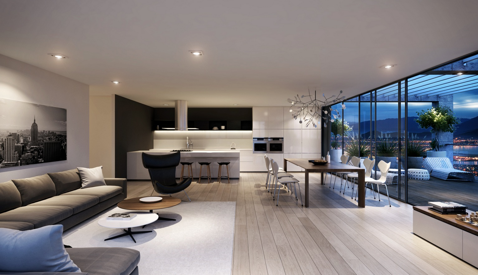 Modern Living Room And Kitchen Design