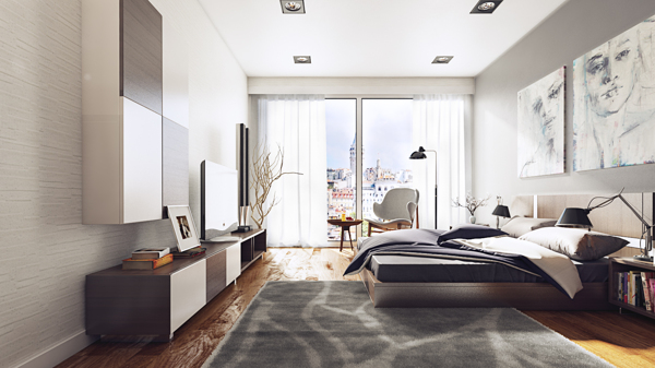 Gray urban bedroom interior design ideas for Bedroom ideas urban