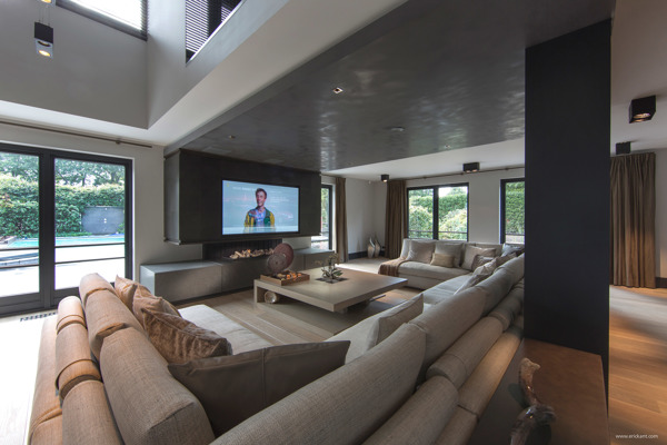 Ultramodern sleek house with sharp lines Modern big living room ideas