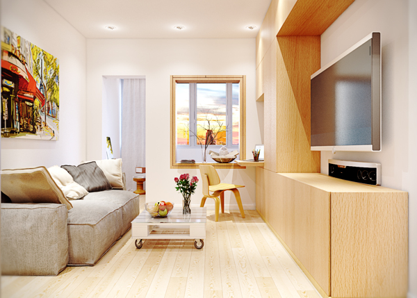 Warm contemporary interiors Very small apartment design