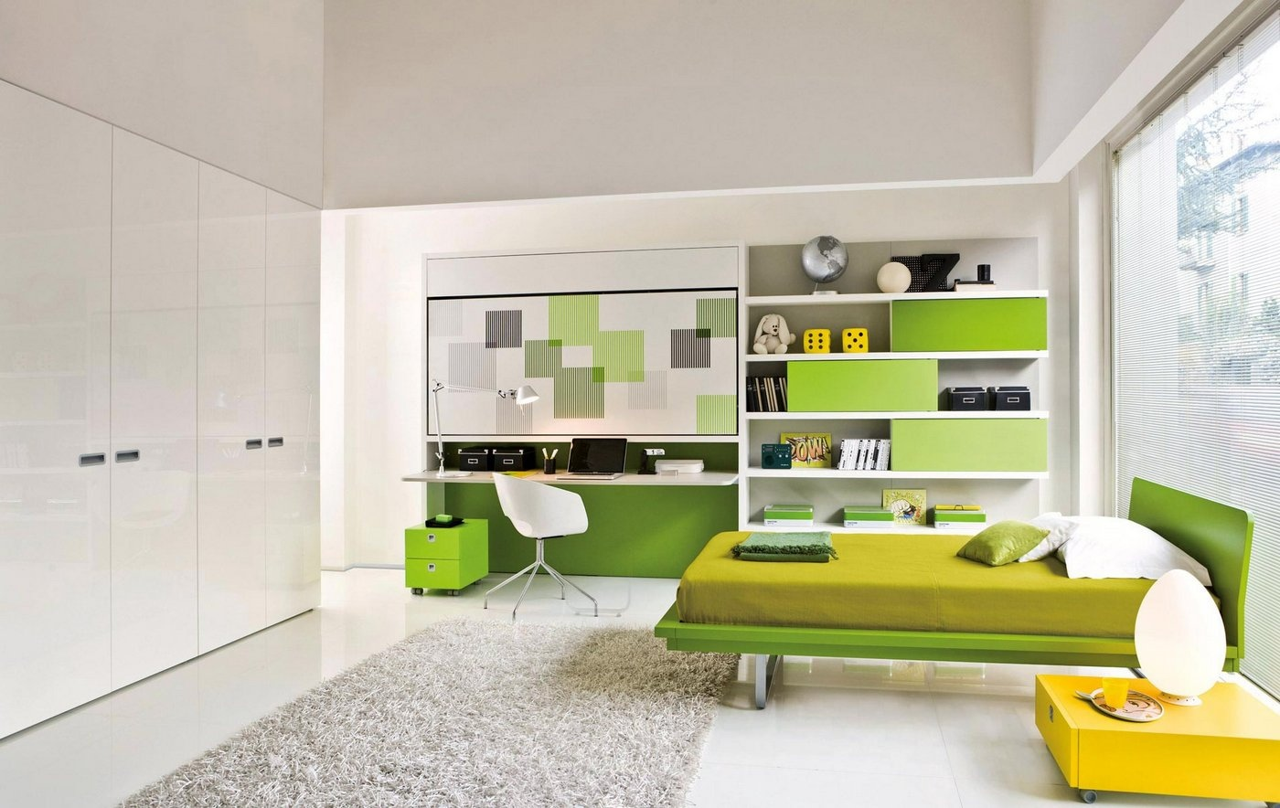 Transformable space saving kids rooms for Room design green