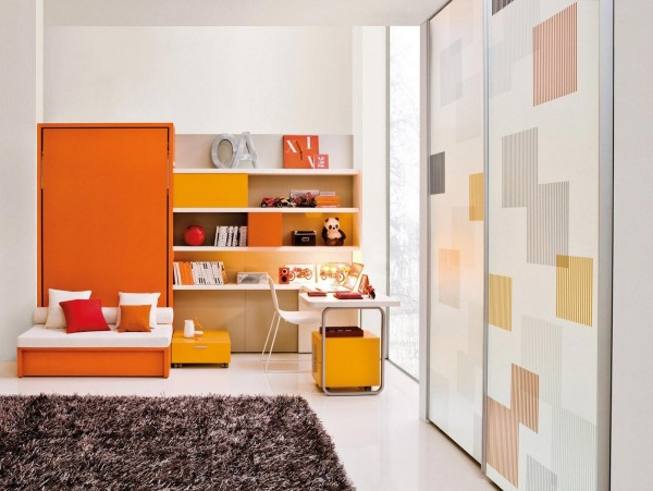 Plenty of shelving and a gradient orange color scheme complete the fun yet organized atmosphere.