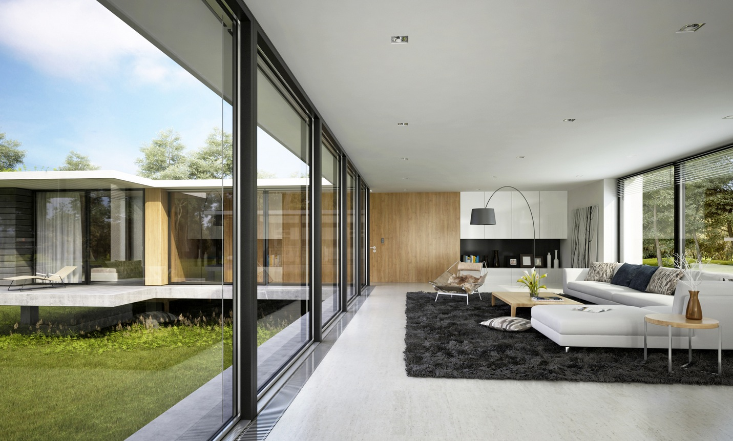 Spacious Modern Living oom Interiors - ^