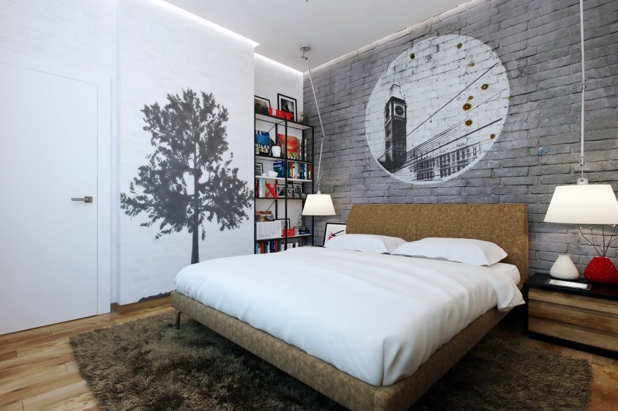 Small bedrooms use space in a big way for Grey brick wallpaper bedroom