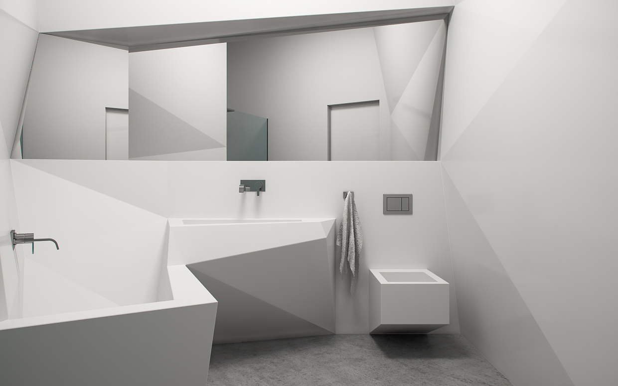 Futuristic interior design for Bathroom designs square room