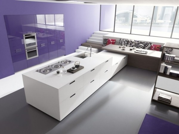 This shock of lilac gives this playful kitchen a welcoming feeling while the custom cabinetry blends in perfectly.