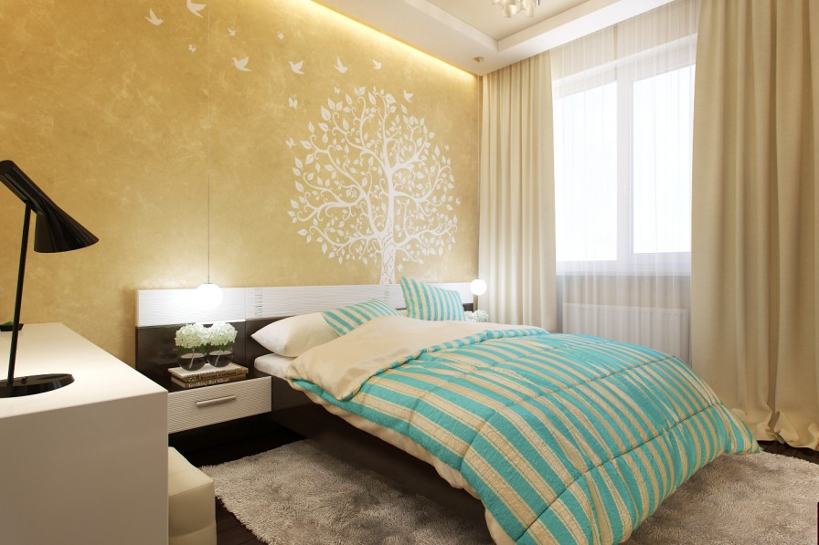 Small Bedrooms Use Space In A Big Way - Wall paint designs for small bedrooms