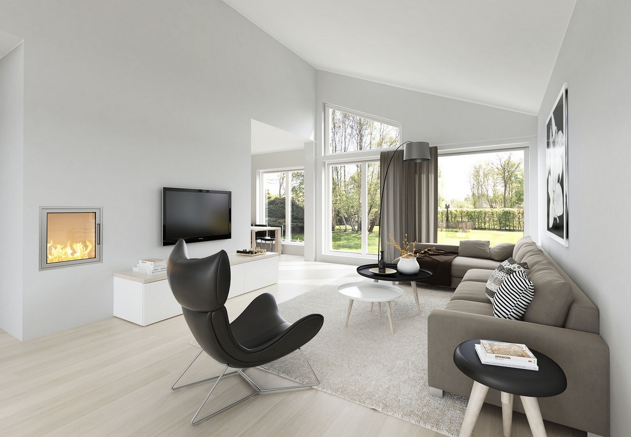 Spacious modern living room interiors for Living rooms interior designs