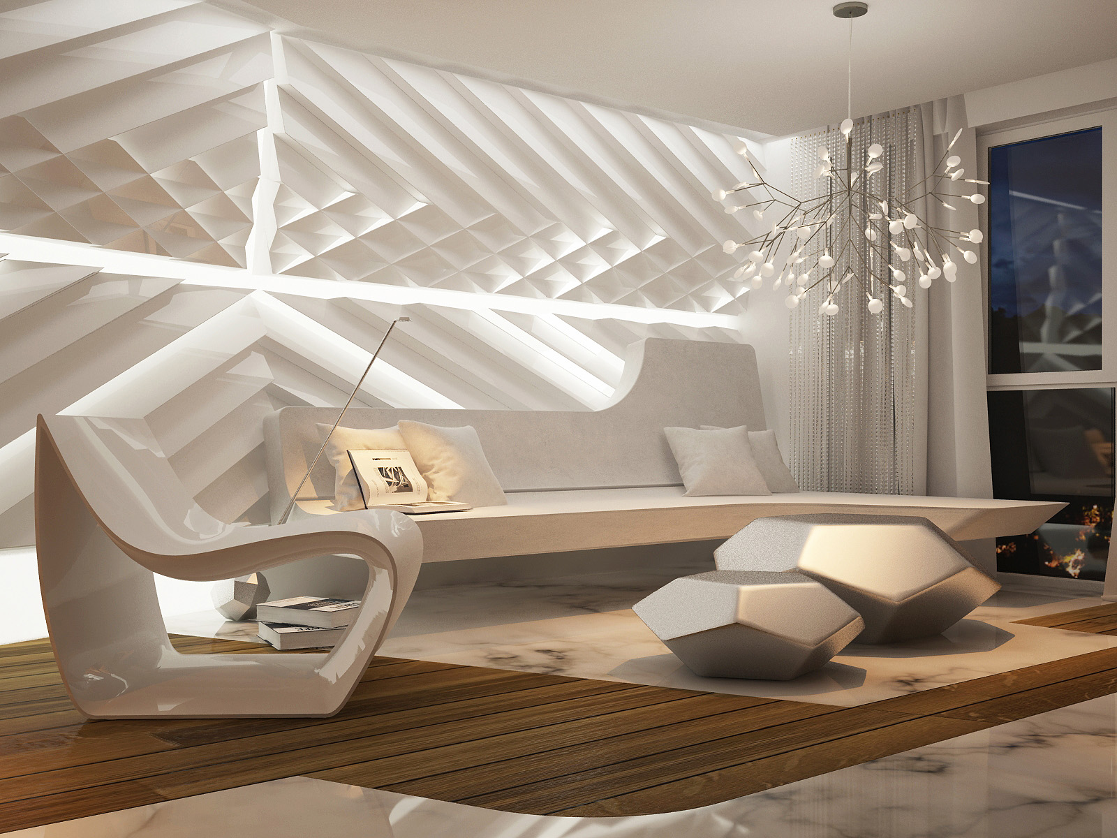 Futuristic interior design for White walls interior design ideas