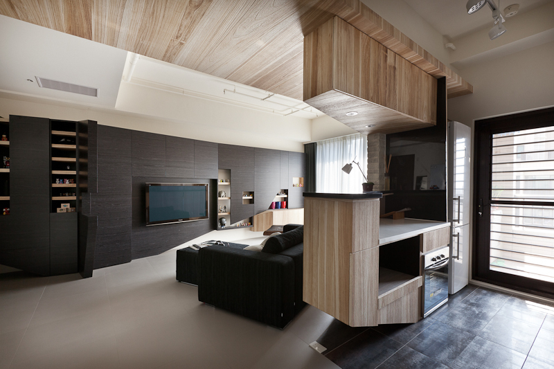 Wood Paneled Kitchen - Light and dark apartment design inspiration