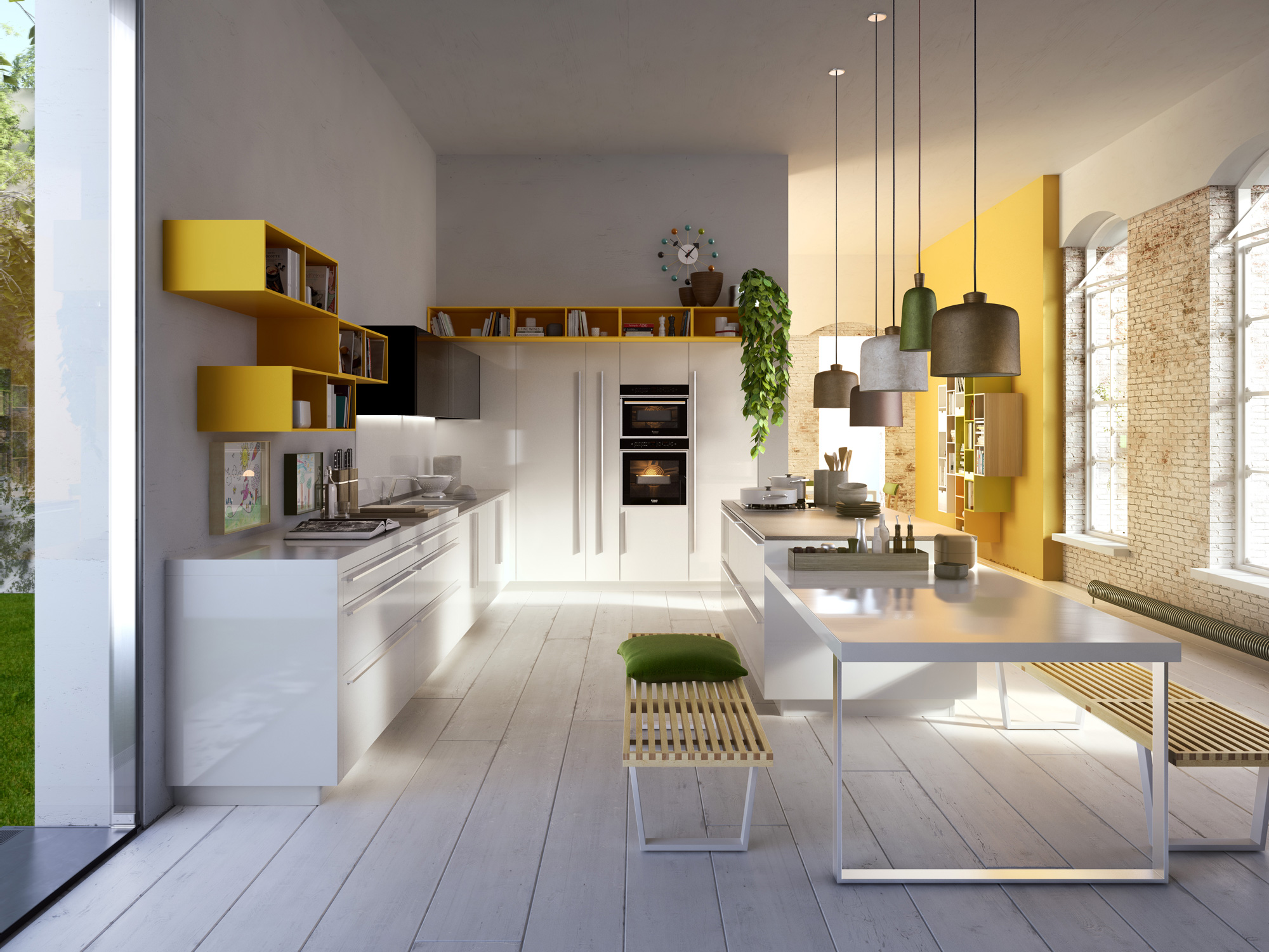 Modern italian kitchens from snaidero Kitchen design yellow and white