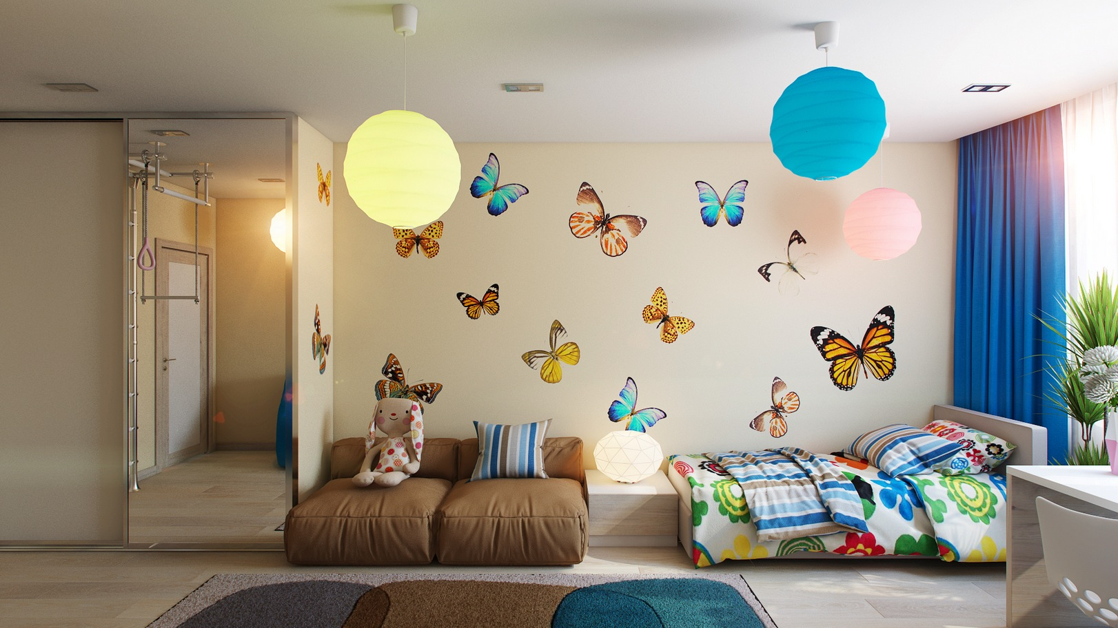 Casting color over kids rooms for Butterfly themed bedroom ideas