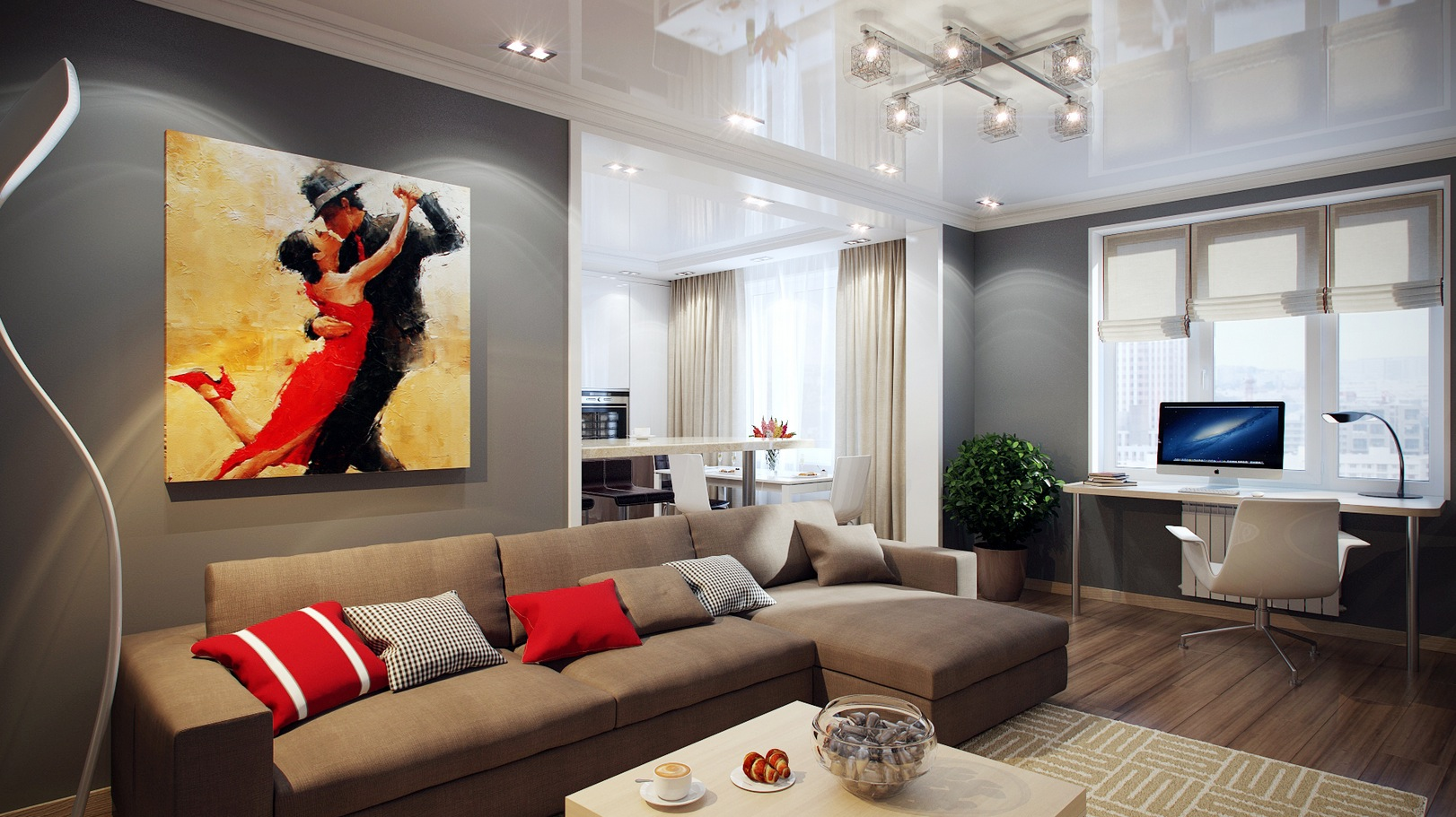 Striking home visualizations by pavel vetrov for Living room gray walls