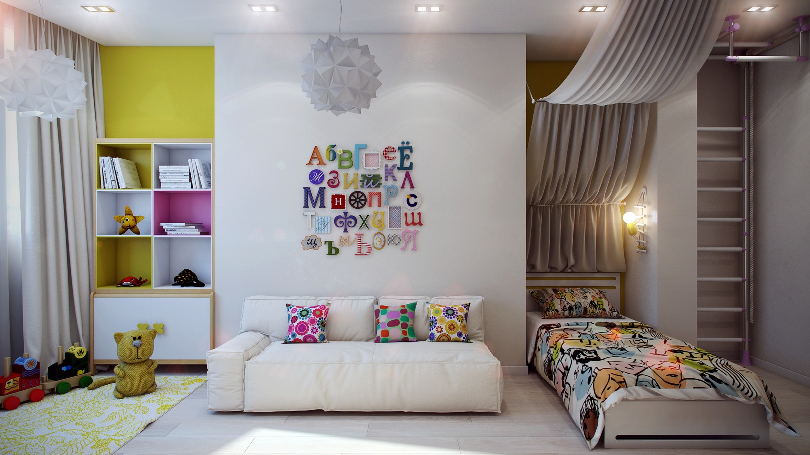 Casting color over kids rooms for Decoration canape
