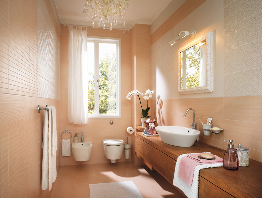 Peach feminine bathroom decor interior design ideas for Peach bathroom set