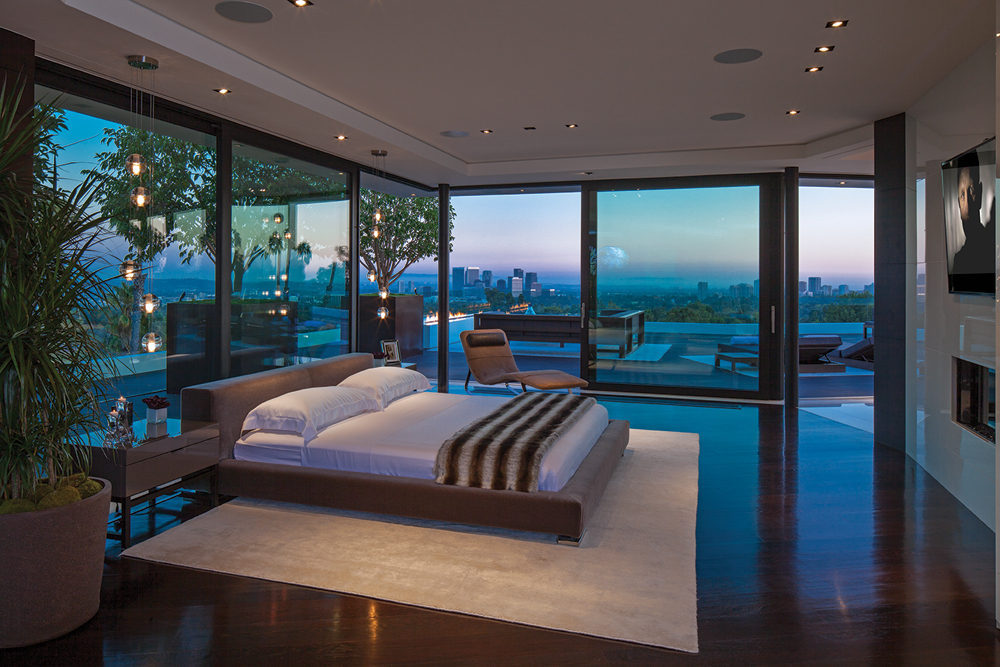 glass walled bedroom interior design ideas