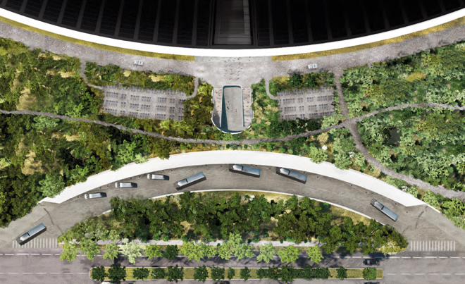 the gargantuan campus includes multi level and sub level parking garages to satisfy the parking needs of its many staff members or for those who prefer not apple thailand office