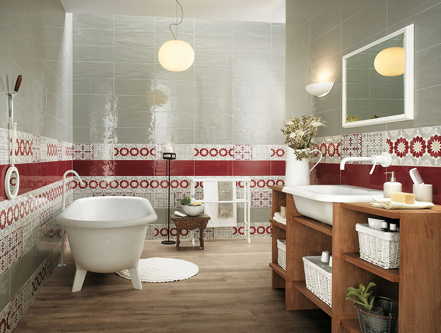 Red white bathroom border tiles | Interior Design Ideas.